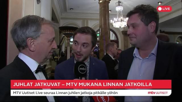 Linnan juhlat 2019, Hjallis Harkimo ja Jethro Rostedt astelivat Linnan juhlien jatkoille yhdessä