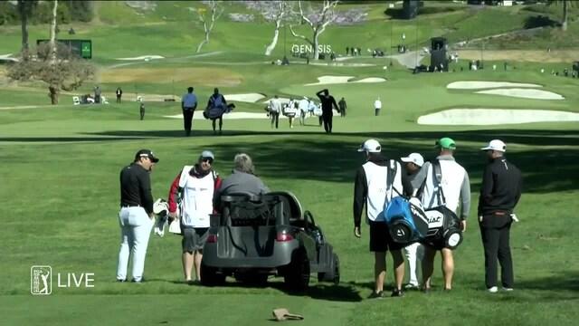 Golf, PGA Tourin kilpailu Genesis Invitational jouduttiin keskeyttämään kovan tuulen vuoksi – pelaajat joutuivat palaamaan väyliltä klubitalolle