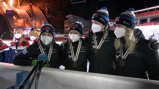 Maastohiihto: MM-Oberstdorf, Suomen viestinaiset venyivät pronssille - tässä iloinen mitalihaastattelu