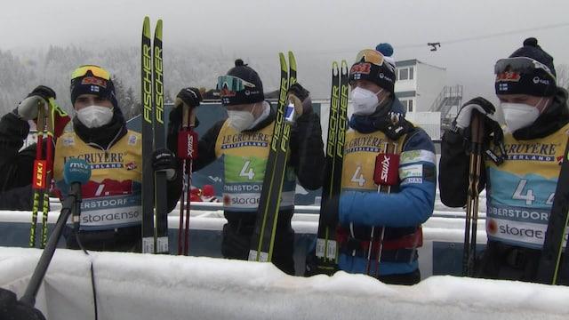 """Maastohiihto: MM-Oberstdorf, Mitaleitta jäänyt miesten viestijoukkue kertailee taistelua: """"Melko kova latu kyllä tuo"""""""