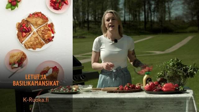 Mitä tänään syötäisiin?, Jakso 75: Grillattu varhaiskaalisalaatti sekä letut ja basilikamansikat