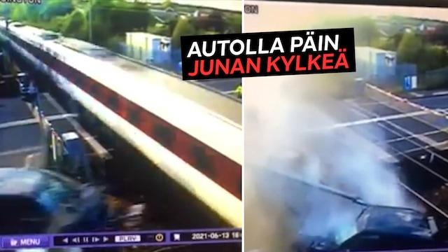 Uutisklipit, Rattijuoppo täräytti Range Roverilla ohi kiitäneen junan kylkeen Englannissa – valvontakamera tallensi törmäyksen