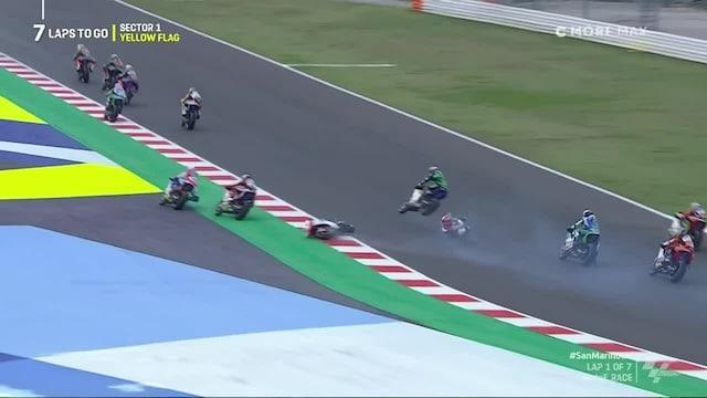 MotoE: San Marinon GP, Kauhistuttava tilanne startissa: MM-sarjan kärki jäi pyörän yliajamaksi
