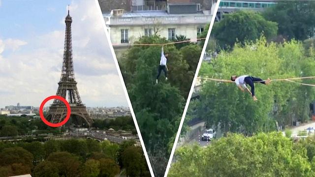 Uutisklipit, Eiffel-tornilla nähtiin uskomaton taidonnäyte – ranskalaismies taiteli ohuen narun päällä 70 metrin korkeudessa