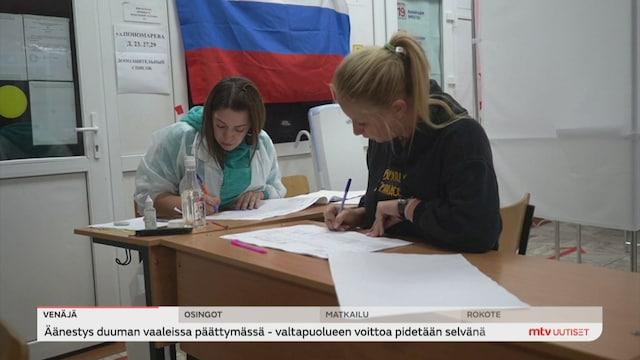 Uutisjutut: Ulkomaat, Äänestys Venäjän parlamenttivaaleissa päättymässä - valtapuolueen voittoa pidetään selvänä