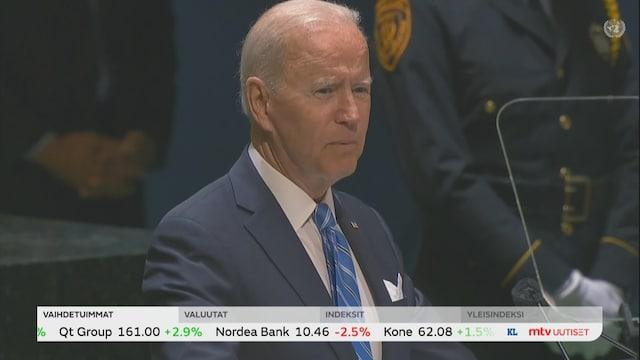 Uutisjutut: Ulkomaat, Yhdysvaltain presidentti Joe Biden on pitänyt YK:n yleiskokouksessa puheen maansa tavoitteista maailmanjärjestössä