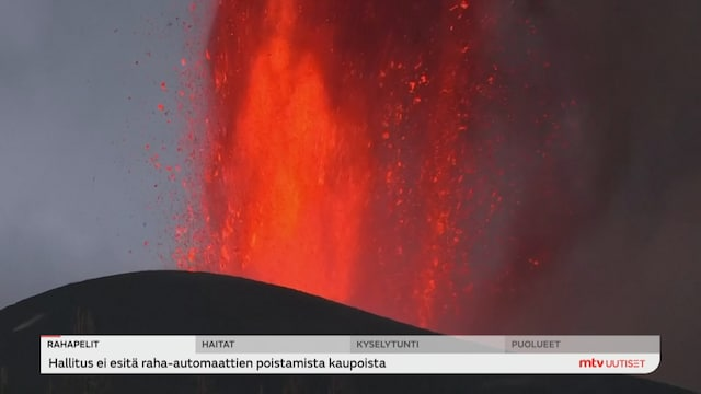Uutisjutut: Ulkomaat, La Palman saaren tulivuorenpurkaus jatkuu viidettä päivää