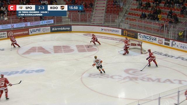 Liiga, Sport tekee 3-3 maalin ylivoimalla