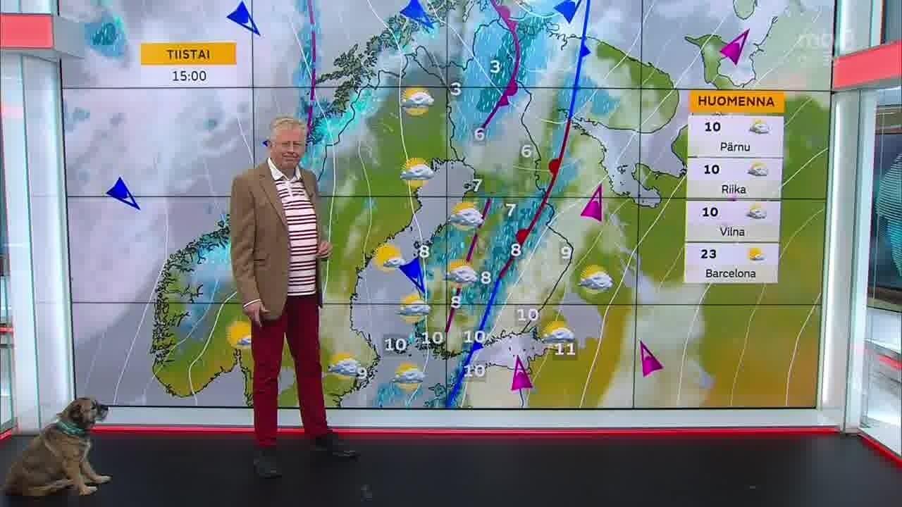 Uutisaamun sää, Maanantai 11.10. Tuulista. Lännessä ja pohjoisessa sataa