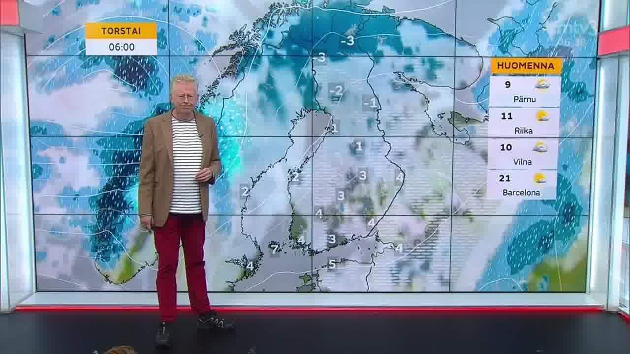 Uutisaamun sää, Keskiviikko 13.10. Sadekuuroja, eniten idässä