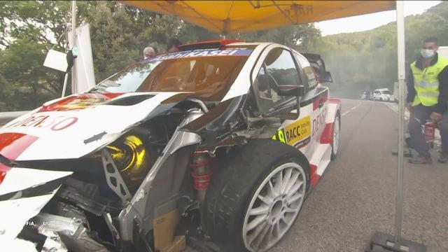 MM-ralli: Espanja, Katalonian MM-rallissa rytisi heti: Toyotan Takamoto Katsuta romutti autonsa pahasti ulosajossa
