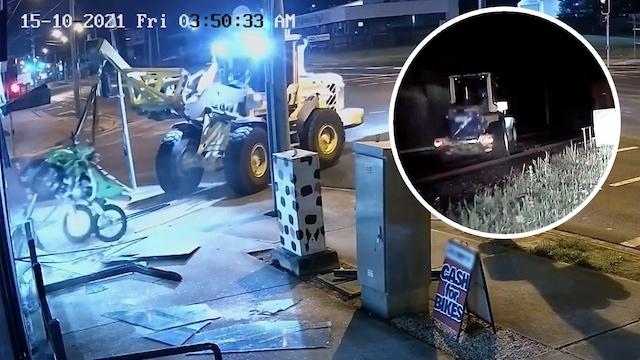 Uutisklipit, Varas ajoi kuormaajalla läpi moottoripyöräliikkeen ikkunasta – alkoi takaa-ajo, jossa poliisiauto kaahasi junakiskoilla