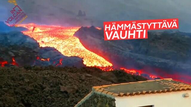 """Uutisklipit, La Palman tulivuoresta syöksyi """"laavatsunami"""" hämmästyttävällä nopeudella"""