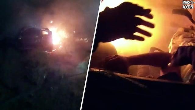 Uutisklipit, Poliisipartion ohi kaahannut auto suistui tieltä ja syttyi tuleen – vartalokamera tallensi sankaripoliisien pelastusoperaation Yhdysvalloissa
