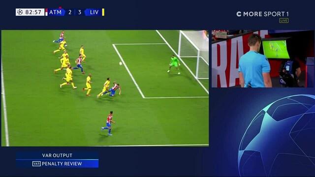Mestarien liiga, Tuomari kumoaa Atletico Madridin rangaistuspotkun pitkän VAR-tarkistuksen jälkeen - Liverpool jatkaa 3-2 -johdossa