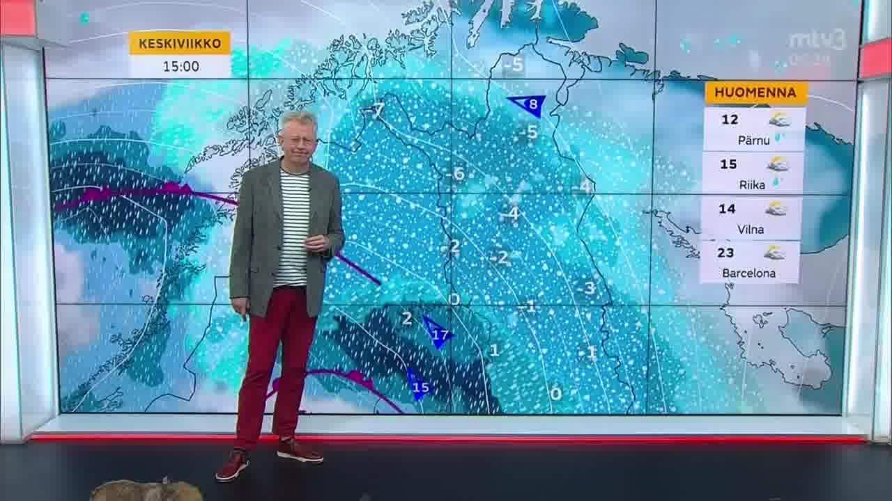 Uutisaamun sää, Keskiviikko 20.10. Sataa, tuulee ja pohjoisempana pyryttää