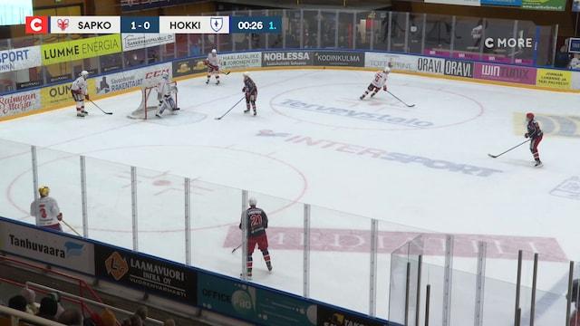 Mestis, Maali: SaPKo - Hokki, Jesper Henriksson(38 Hokki)