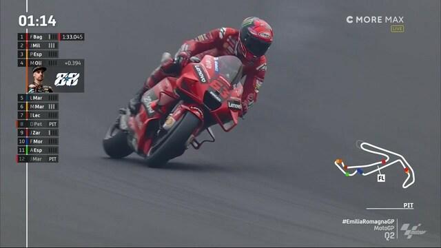 MotoGP: Emilia-Romagnan GP, Francesco Bagnaia paalulle vaikeissa olosuhteissa - kuljettajilla suuria vaikeuksia pysyä pystyssä