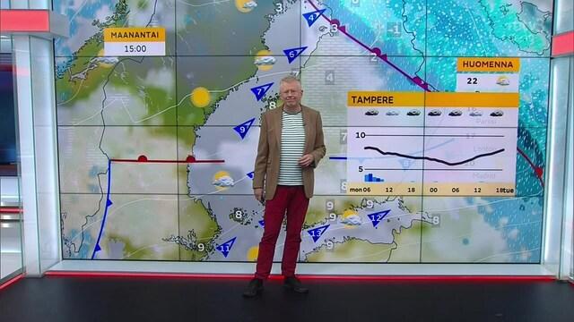 Uutisaamun sää, Maanantai 25.10. Lappin lisää lunta. Etelään ja länteen lämpöä