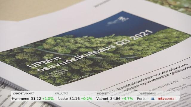 Uutisjutut: Kotimaa, Metsäyhtiö UPM teki ennätystuloksen kolmannella vuosineljänneksellä