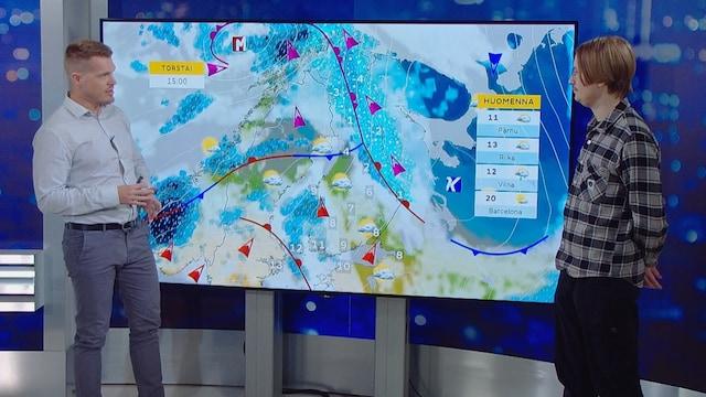 MTV Uutiset Live, Sadealue lähestyy lännestä, etelässä lämpenee
